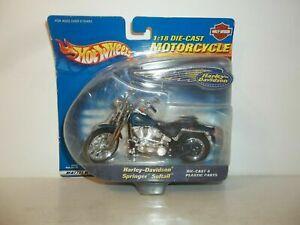 2000 HOT WHEELS MOTORCYCLES BLUE HARLEY DAVIDSON SPRINGER SOFTAIL