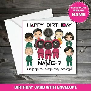 18th 21st 30th 40th 50th Personalised Squid Game Happy Birthday Card green 190