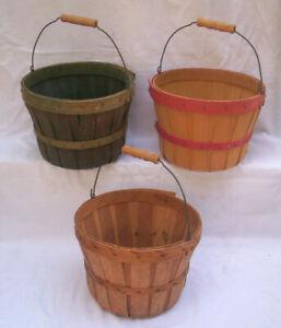 Bushel Basket Lot with Handles Wood Slats, Apple, Vegetable, Berry , Gathering