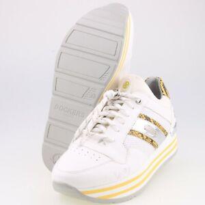 0482-Dockers Damen Plateau Sneaker Halbschuhe Gr 37 Weiß Gelb 2. Wahl