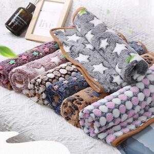 Warm Pet Mat Paw Print Cat Dog Puppy Fleece Cosy Soft Blanket Cushion Mat UK~