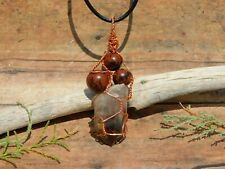 Smoky Quartz Crystal and Mahogany Obsidian Volcanic Glass Pendant and Necklace