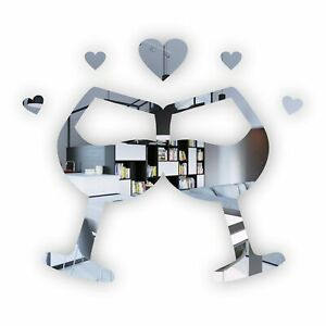 Lovers Wine Glasses with Hearts Acrylic Mirror