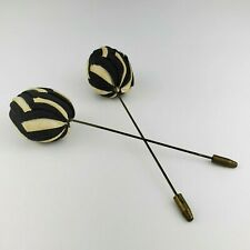 Pair 2 Vintage Sewn Fabric Cloth Black White Mourning Hatpins Hat Pins Antique