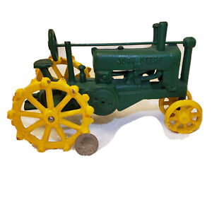 "Cast Iron John  Deere Tractor toy, green with yellow wheels, 8"" long"