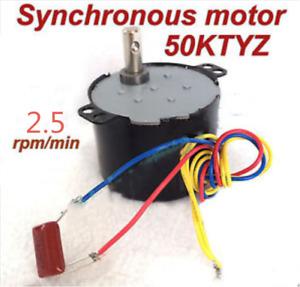 Synchronous Motor 50KTYZ AC 110V 120V 50/60Hz 2.5rpm/m CW/CCW 6W Torque 25kgf.cm