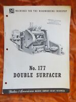 Yates-American No 177 Double Surfacer  Brochure Vintage Woodworking  3 pages