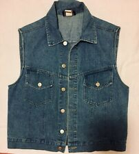 Bentley Arbuckle Women's Jacket Denim Sleeveless Vest Pockets Silver Buttons 12