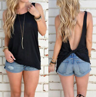 Women Vest Tops Black Sleeveless Shirt Blouse Casual Tank Top T-Shirt Backless