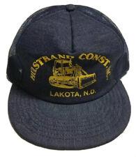Vtg Hulstrand Construction Denim Trucker Hat Made In The USA Cap North Dakota ND