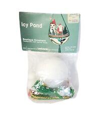 LeeWards ICY POND Santa Snowman Vintage Sequin Bead Christmas Ornament Kit NIP