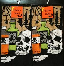 Set Of 2 Halloween Skull Poison Kitchen or Bathroom Dish or Hand Tea Towels Web