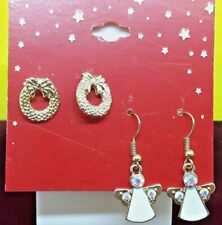 Christmas Angel&Wreath Earrings White Dress Rhinestone Gold-Tone Retro Fashion