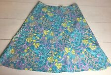 East Skirt 12 55% Linen 45% Cotton Summer Blue Yellow Purple Floral A Line