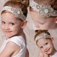 New Baby Kids Girls Lace Pearl Flower Hair Band Crystal Rhinestone Headband DAZ