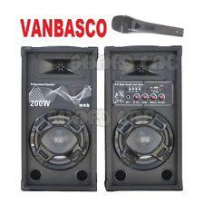 CASSE AMPLIFICATE KARAOKE ATTIVE 200W + MICROFONO FILO + VANBASCO impianto