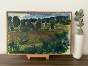 VINTAGE MID CENTURY MODERNIST ABSTRACT LANDSCAPE PAINTING - LUSH