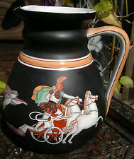 Rare Mid 19thC Eturia Porcelain Greek Neoclassical Pitcher-Ajax & Hector-Chariot
