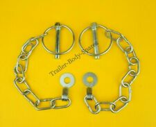 2 x Lynch Pin & Chain 8mm  with TAB WASHER Trailers Horse Box Tail Gate