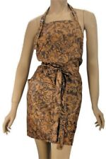 Beauty Salon Apron in Brown Fleur De Lys Print  Water Resist Finish  WennerWear