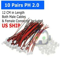 10 Pairs Mini Micro JST 2.0 PH 2-Pin Connector plug with Wires Cables 120MM