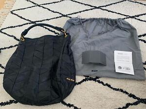 MIU MIU BLACK LEATHER LARGE SHOULDER BAG GOLD EXLT CDTN