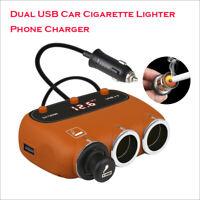 3 Ways Multi Car Cigarette Socket Lighter Adapter Splitter W/ Dual USB Charger