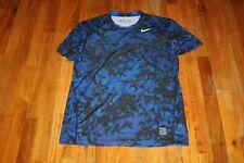 Nike Pro Combat Men'S Blue Camo Fitted S/S Shirt Size M