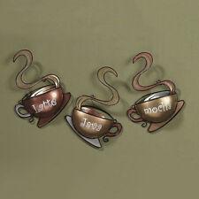 Coffee House Cup Mug Wall Art Latte Java Mocha Metal Home Decor New