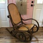 Vintage Rattan Bentwood Rocker Rocking Chair Thonet Style Brown Wicker Back