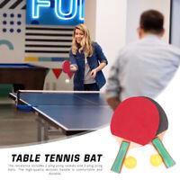 1 Paar Tischtennisschläger Ping Pong Paddle Bat mit 3 Bällen Set für Anfänger
