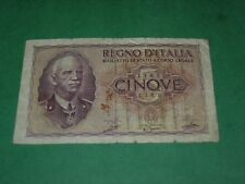 ITALY 1940 5 LIRE BANKNOTE CIRCULATED   P-28a.1