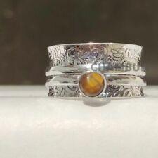 Tiger's Eye Gemstone 925 Sterling Silver spinner Valentine Gift Ring, Size- 10