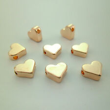 15pcs 7mm Rose Gold Silver Heart Beads Charms Stamping Initials Wedding Or Gifts