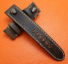 Handmade Real Leather Watch Strap, band for 24mm lug watch - (w Metal Skull)