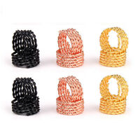 5/10/20Pcs Hair Braid Dread  Beads Cuffs Clips Scaling Metal Spring Tube Ring