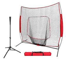 7'×7' Baseball Practice Net Batting Tee for Softball Training Hitting W/Bag