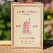 Boîte mercerie ancienne coton à repriser A La Chapelle 12 pelotes beige cuivré