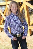 Cruel Girl Girls Plum & Lavender Paisley Snap Up Western Shirt CTW3220009