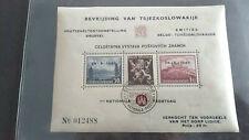 1945 Czeckoslovakia/Belgium Souvenir Sheet with Cancel