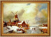 Ölbild Winterlandschaft, Charles Leickert ÖLGEMÄLDE Gemälde HANDGEMALT F:60x90cm