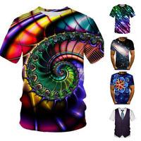 3D Hypnosis.Tie-Dye Print Men Women Casual T-Shirt Short Sleeve Graphic Tee Tops