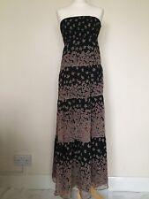 e6d4481a5a Monsoon 100% Silk Floral Bandeau Full Length Tiered Maxi Dress Black Pink  UK 8