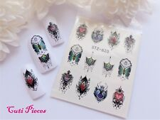 Nail Art Heart Filigree Butterfly Lace Necklace Water Transfer Decal Sticker 620