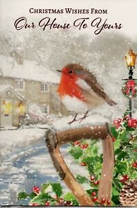 Our House To Your House Christmas Card Trad Design By Prelude Size 20cm x 14cm