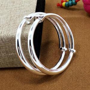 2Pc Glossy 925 Sterling Silver Stamped Bangle Bracelet Charm Adjustable Bracelet
