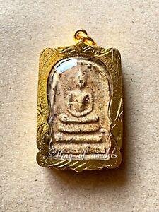 PHRA SOMDEJ WAT RAKANG LANG CHEDI PENDANT GOLD MICRON CASE THAI BUDDHA AMULET