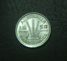 1958 Australian Threepence, error, doubling of date and lettering