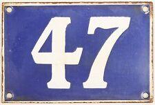 Old blue French house number 47 door gate plate plaque enamel metal sign steel