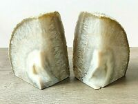 CHIPPED Natural Agate Bookends A+ Quality Quartz Crystal Geode Center DISCOUNTED